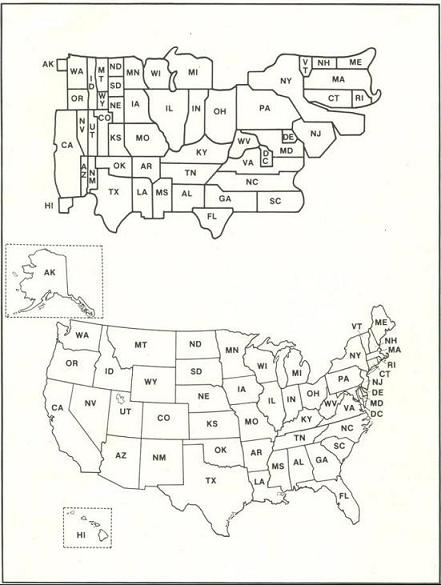 A DARE map of the United States next to a geographical map of the United States.