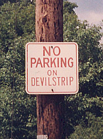 devil strip sign