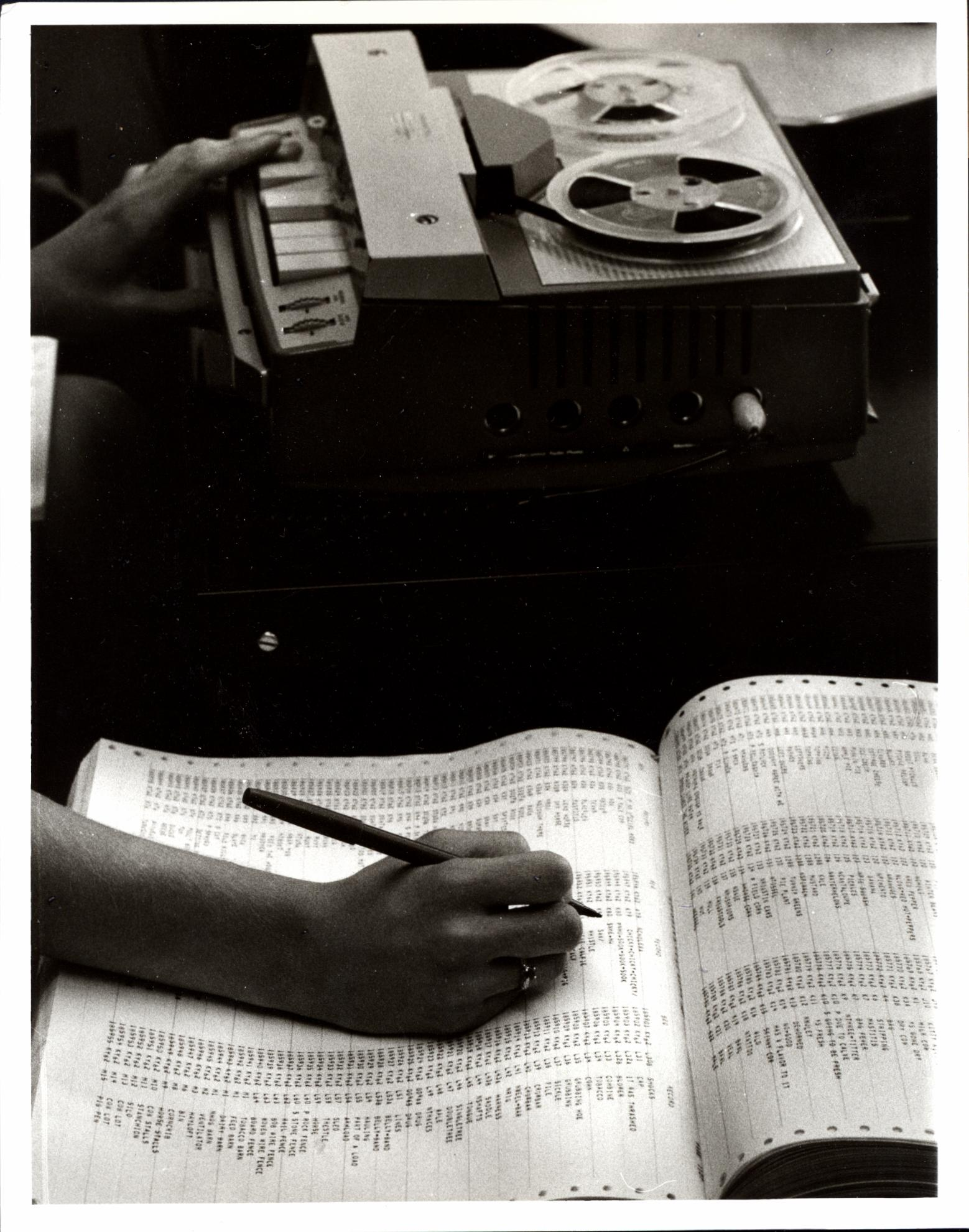 Tape recorder and Computer printout (c1972)