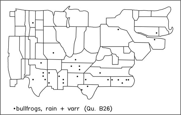 bullfrogs, rain + varr (Qu. B26)